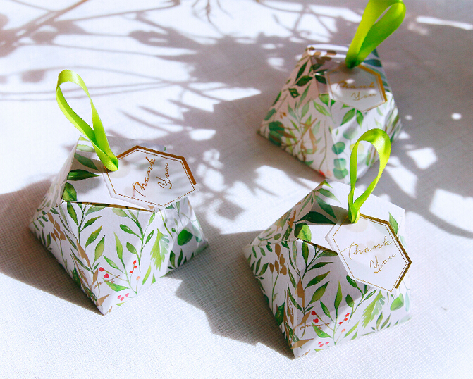 New Diamond Shape Green leaves Forest style Candy Box Wedding Favors And Gift Boxes Party Supplies thanks Gift Chocolate Package (11)