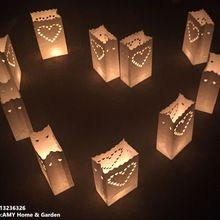 Candle-Bag Lantern Tea-Light-Holder Luminaria-Paper Wedding-Heart Party-Decoratio Day