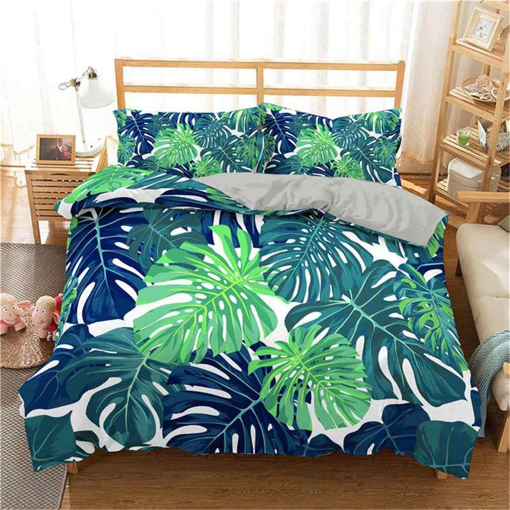 Boniu 3D Duvet Cover Set Tropical Plant Bedding Set Green Leaves Printed Bedspread With Pillowcase Single Size Luxury Bed Set