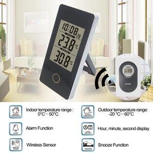 Image 5 - جهاز قياس الرطوبة بمستشعر لاسلكي رقمي متعدد الوظائف مزود بمصباح LED وساعة منضدة ومنبه