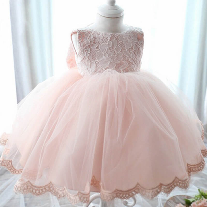 2016 Summer Fashion Pink Lace Elegant Girl Dress Girls Big Bow Party Tulle Flower Princess Wedding Dresses Baby Girl dress