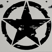 1 Pc 41 Cm/16 Inch Militaire Army Star Kap Sticker Sticker Voor Jeep Wrangler Jk Cj Tj Yj pentagram Burst Tribal Auto Cover Sticker(China)