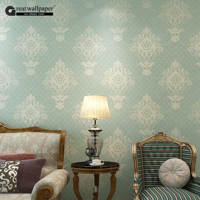 US $29.0 |Vlies europäischen glänzend stilvolle blau beige weiß moderne  damast tapete wohnzimmer modernen luxus wand papier für schlafzimmer in ...