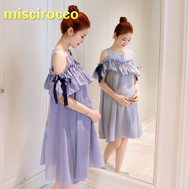 2018 Summer Maternity Cotton Striped Bow A-line Short Sleeved Dress Pregnant Women Clothing Comfortably breathable