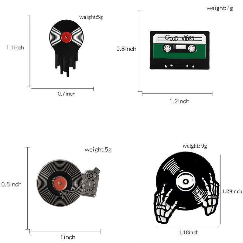PUNK เพลงคนรักเคลือบ PIN Good Vibes เทป DJ VINYL เครื่องเล่น Badge เข็มกลัด Lapel PIN กางเกงยีนส์เสื้อ Cool Gothic เครื่องประดับของขวัญ