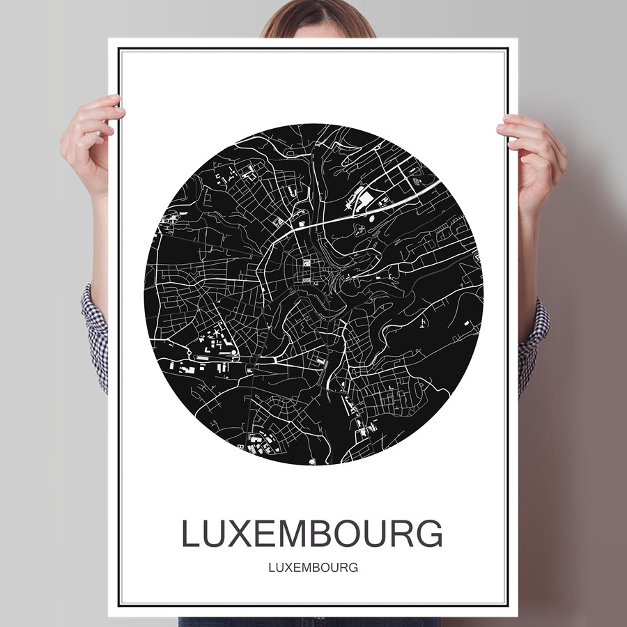 LUXEMBOURG World City Map Modern Poster Oil Painting Canvas Coated Paper Abstract Print Picture Cafe Bar