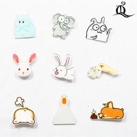 1 PCS Cartoon Badge Icons on The Pin Acrylic Badges Badges for Clothing Kawaii Brooches Pvc Brooch,rabbit for cloth and bag 20
