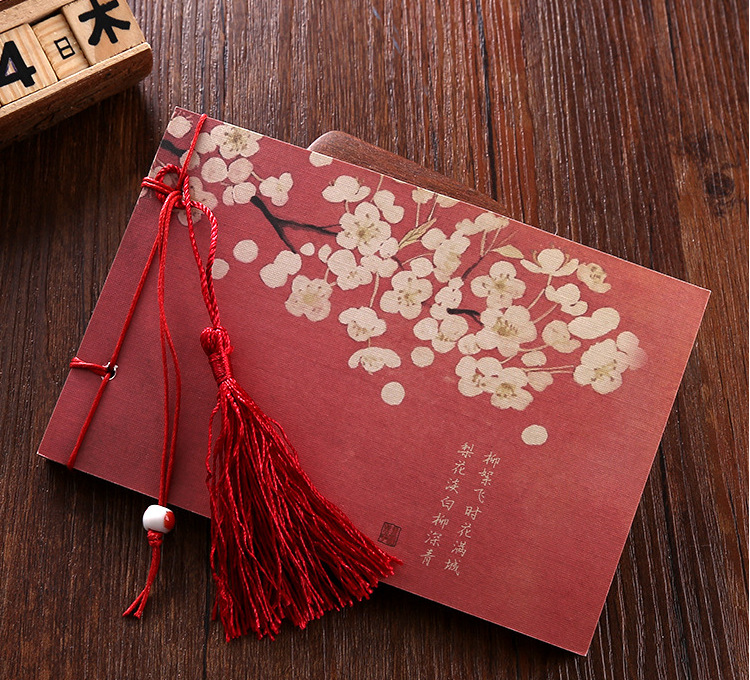 Chinese Tradtional Vintage Style Diary Notebook Small Mini Memo Pad Stitching Binding Softcover Flower Printed Notepad Planner contrast binding slit hem printed skirt