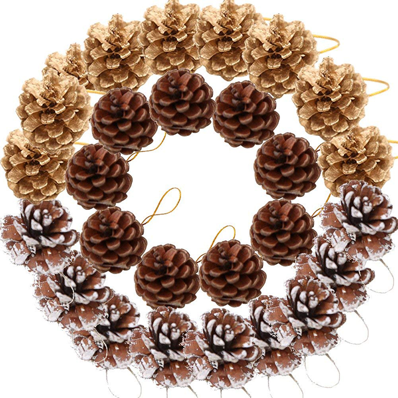 Jeebel 9pcs Christmas Decoration Pine Cones Pinecone Xmas New Year Holiday Party Decoration Ornament For Home Supplies