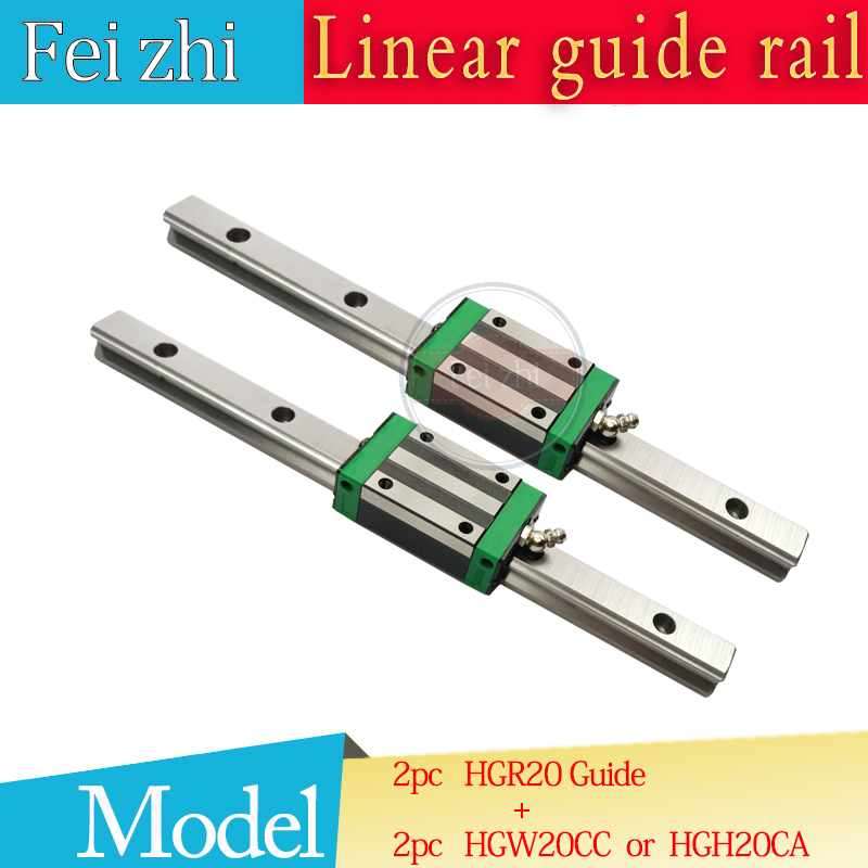 Free shipping 2pcs linear rail HGR20 L=100 200 300 500~1500MM and 2pcs HGH20CA or HGW20CC linear guide rails block cnc parts 2pcs 100
