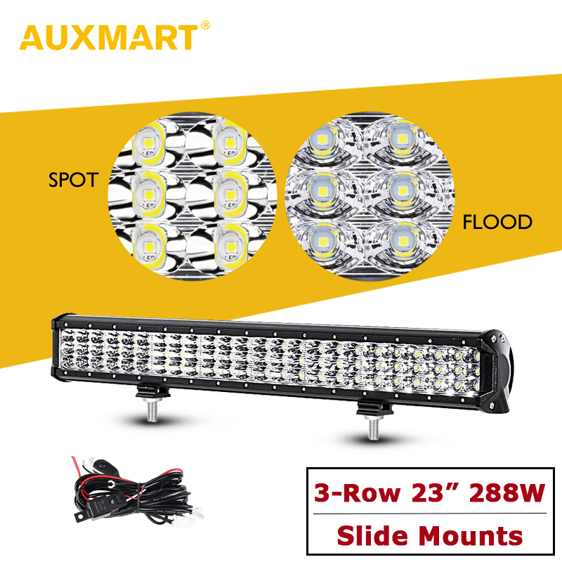 Auxmart 23 288w Tri-Row LED Light Bar Offroad Spot+Flood Combo Work Light 12v 24v For 4x4 4WD SUV ATV RZV Trailer Truck LED Bar 12 inch 144w tri row led work light bar with wiring harness spot flood combo beam for jeep off road 4wd boat suv atv truck 4x4