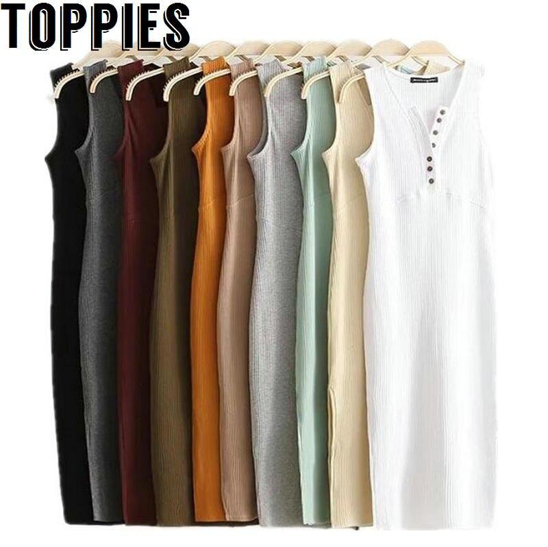 Toppies Women 2018 Sleeveless V-neck Slim Dress Sexy Split Midi Dress with Buttons 10 Colors Long Dress
