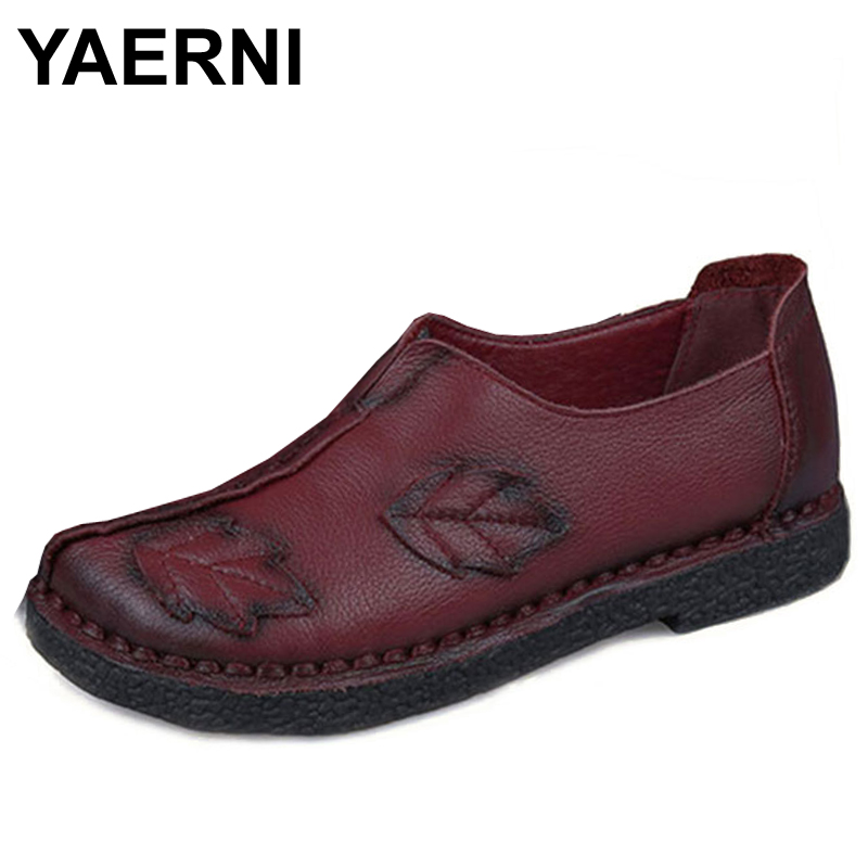 YAERNI Chinese Fashion Style 100% Genuine Leather Shoes Women Flats Leaves Green Hand-Made Slip-On Casual Mother shoes aiyuqi spring new genuine leather women shoes with thick with non slip lace comfortable mother hand made women s singles shoes