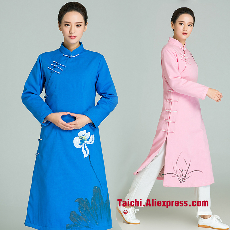 Winter Handmade Linen Tai Chi Uniform  Thicker  Kung Fu Martial Art Robe Surplice Hand Painted Chinese Clothes