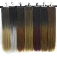 Черные и коричневые волосы Soowee, прямые синтетические волосы на клипсе для наращивания, прямые волосы с высокой кромкой, 20 видов цветов
