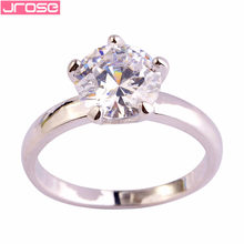 JROSE Wholesale Lovely Pretty Round Cut White CZ 925Silver Color Ring Size 6 7 8 9 10 11 12 13 Bridal Jewelry Gift For Women(China)