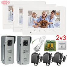 2v3 Video Intercom Home Door Phone/Doorbell Two 700lines HD Outdoor Units Three 7 Color Lcd Free Shipping 5 Years Warranty
