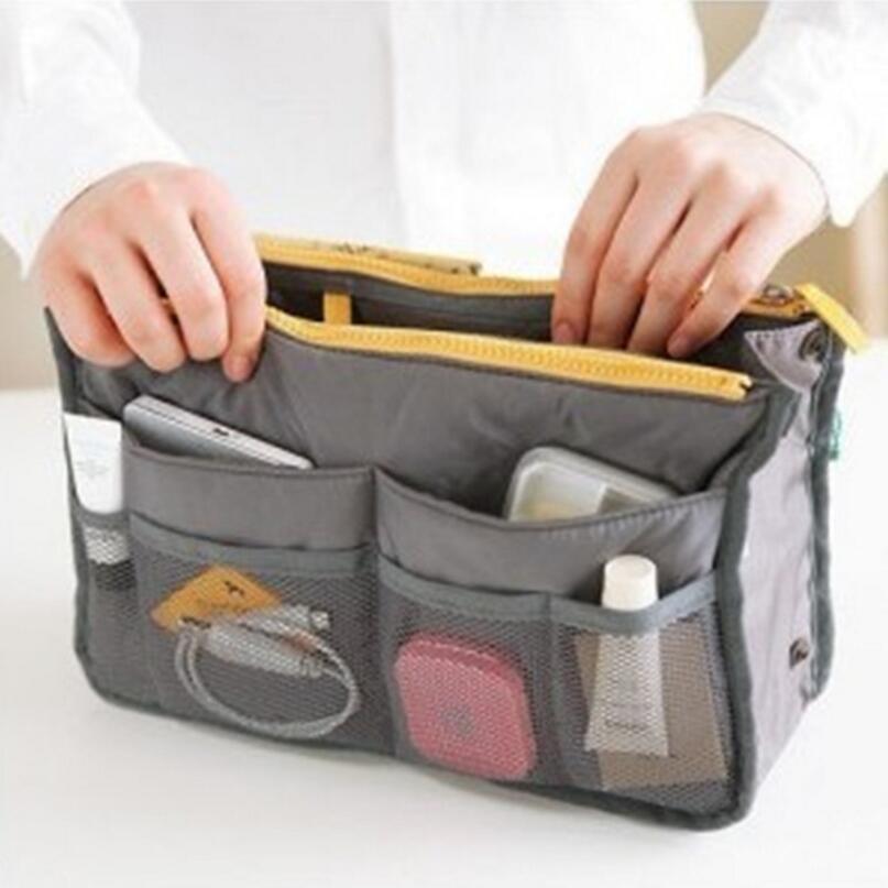 2018 Women Makeup Organizer Bag Handbag Purse Large liner Travel Insert Lady Casual Cosmetic Bag Travelling Bag Multifunction women lady travel insert handbag organiser purse large liner organizer tidy bag