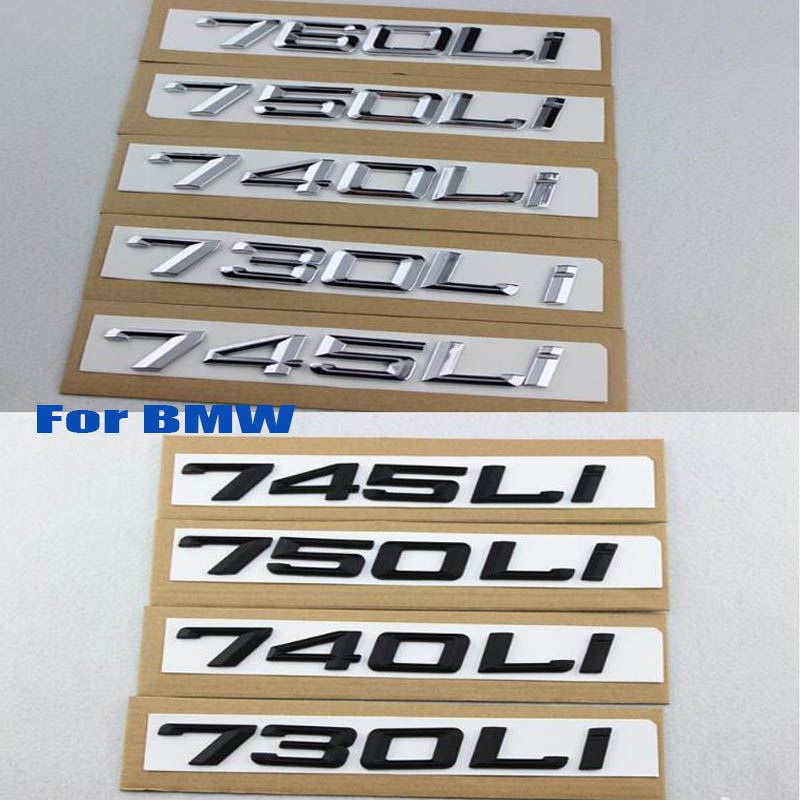 1set car Boot decor sticker car styling ABS For BMW 745i 730 740 750 760LI 7series car refit displacement emblems badge stickers|Car Stickers| |  - title=