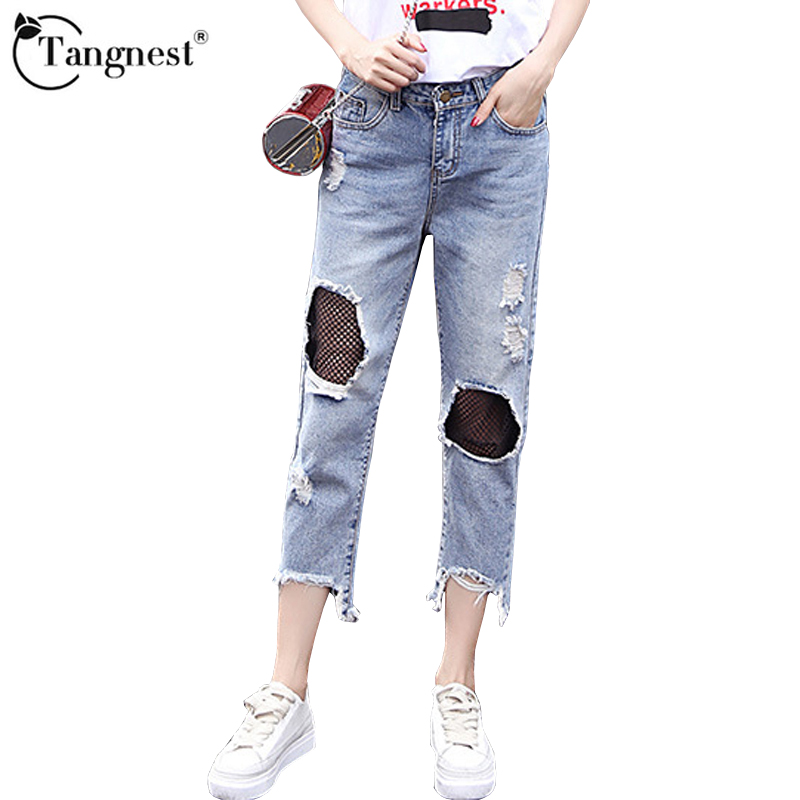 TANGNEST 2017 Sexy Mesh Hole Vintage Jeans Women New Casual High Waist Ladies Ripped Washed Denim Burr Push Up Pants WKN543  new 2016 fashion brand women washed denim casual hole romper jumpsuit overalls jeans macacao feminino vintage ripped jeans
