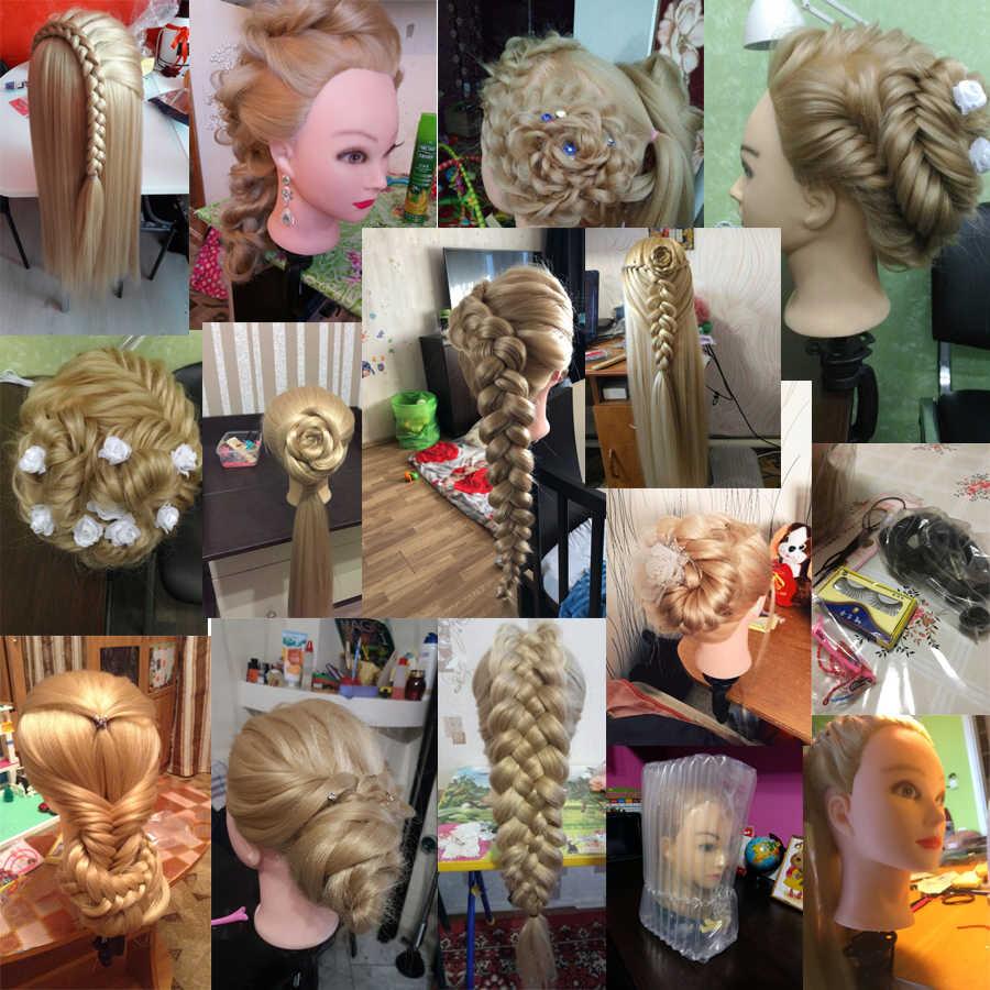 Głowa lalki dla fryzjerów 80cm włosy syntetyczna głowa manekina fryzury żeński manekin fryzjerstwo stylizacja głowica treningowa