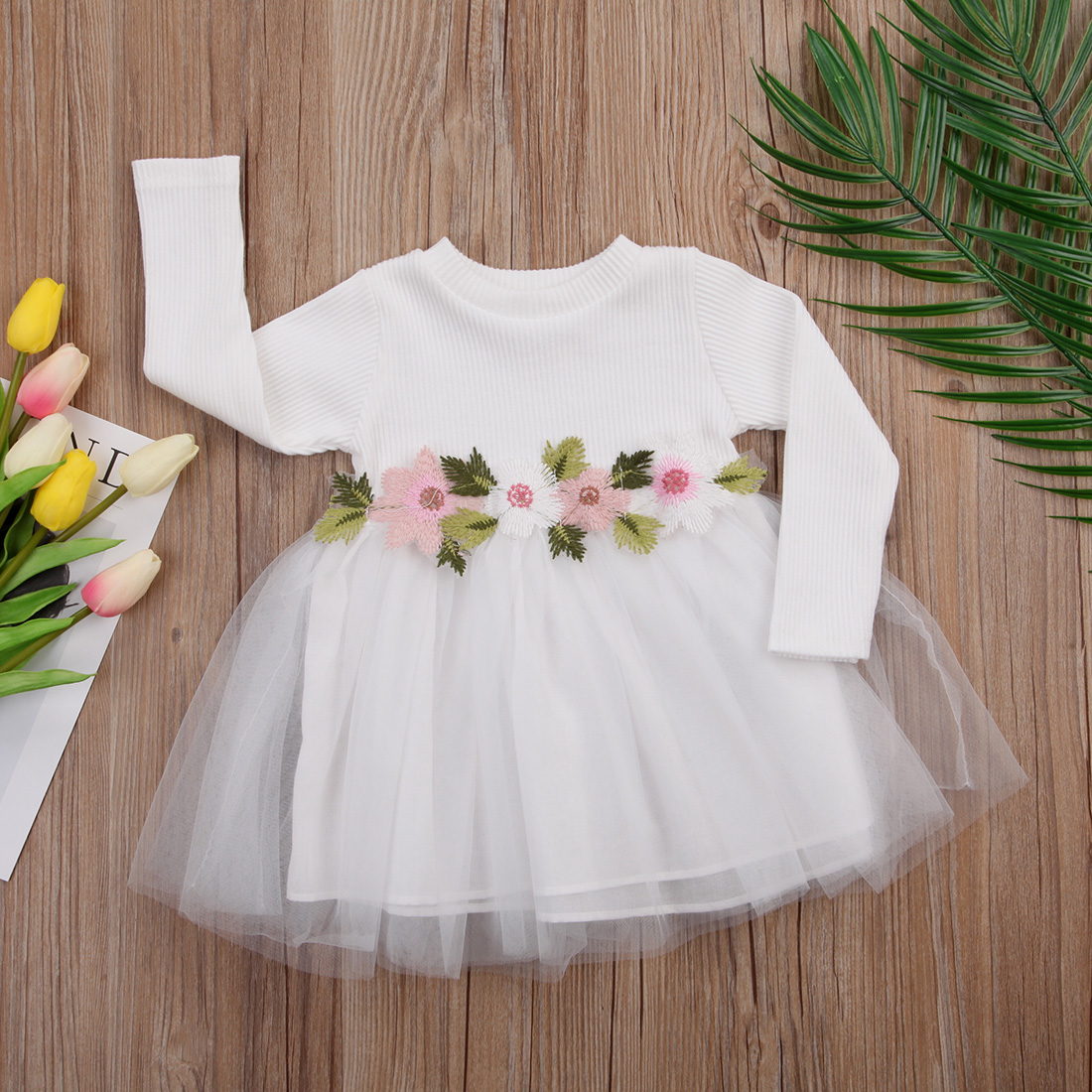 1 PZ Fiore Ragazze Autunno Inverno Abiti in Maglia Sveglio Infantile Del Bambino ragazza Manica Lunga Rosa Bianco Bianco Tutu Ball Gown Dress 0-3Y