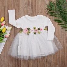 1 шт. цветок Обувь для девочек осень-зима трикотажные Платья для женщин милые детские для маленьких девочек с длинным рукавом Розовый Белый Бальное платье-пачка платье От 0 до 3 лет