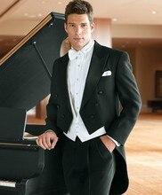 New Design Black Tailcoat Groom Tuxedos Groomsmen Men's Wedding Prom Suits Bridegroom (Jacket+Pants+Vest+Tie) K:873