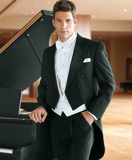 New Design Black Tailcoat Groom Tuxedos Groomsmen Men's Wedding Prom Suits Bridegroom (Jacket+Pants+Vest+Tie) K:873