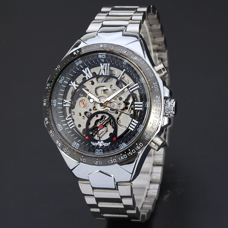 bbbabe93f Russian Skeleton Automatic Watches For Men Silver Stainless Steel ...