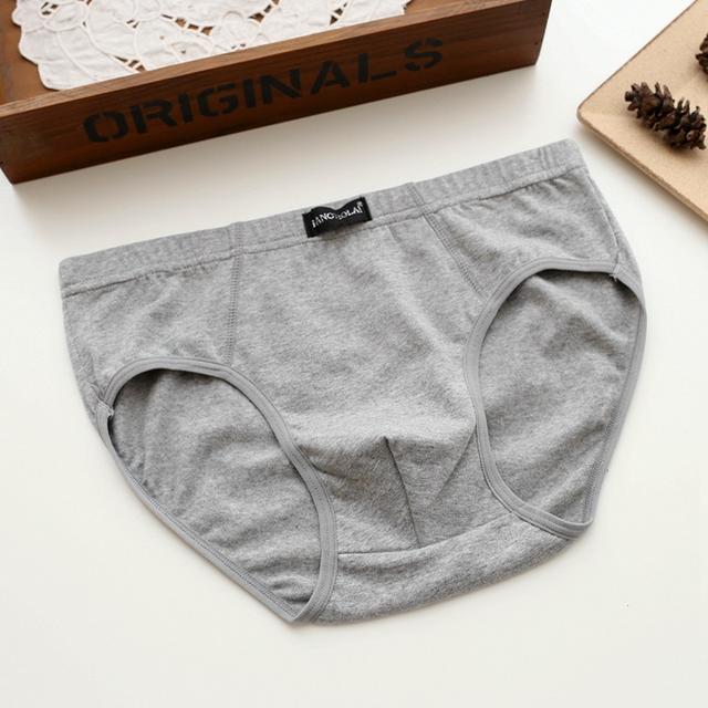 Men's Solid Color Cotton Briefs
