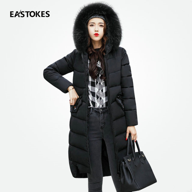 Women Winter Long Coats With Large Fur Collar Slim Fits Zippered ... : quilted ladies coats - Adamdwight.com