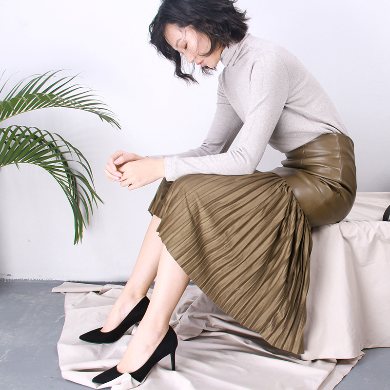 Free Shipping 2018 New Fashion PU Leather Pleated Long Mid calf Women Skirts Ladies Pencil S 2XL Vintage High Waist Winter Skirt