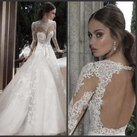 Robe De Mariage Sexy Open Back Bridal Gowns China Custom Made Hot Sale Vintage Long Sleeves