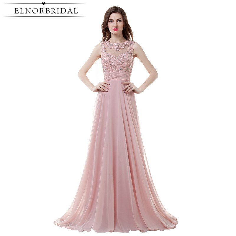Blush Pink Sheer Prom Dresses Long Appliqued Chiffon Open Back Imported Party Dress Formal Robe De Soiree Longue 2017