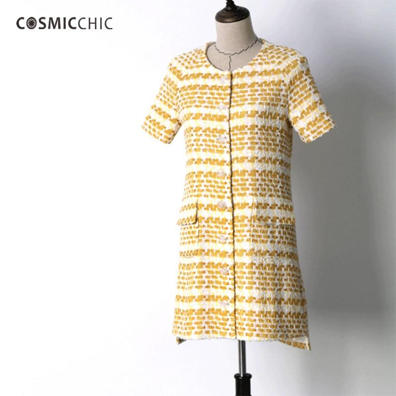 Cosmicchic Hand Made Women Tweed Dress Short Sleeve Single Breasted Yellow Elegant Dress Fashion Runway 2018 Summer Autumn Dress