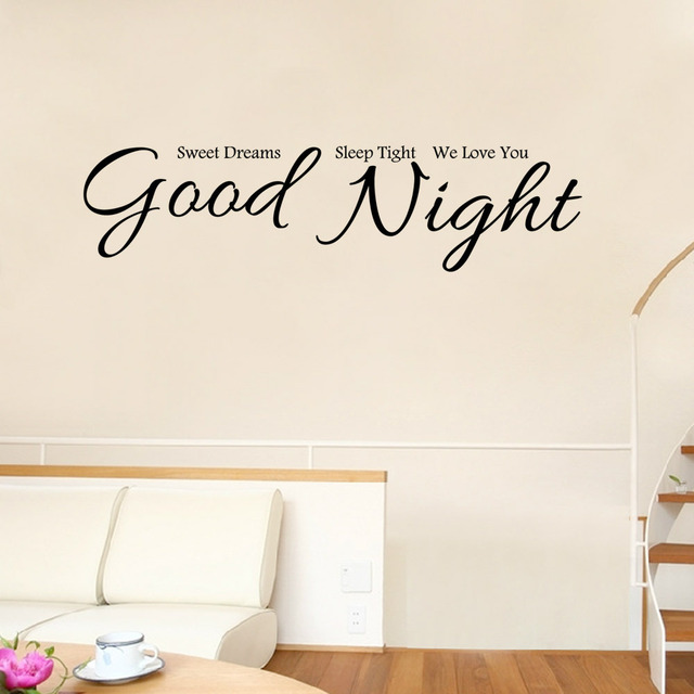 New Good Night Wall Stickers Bedroom Sweet Dreams Sleep Tight We Love  OP96