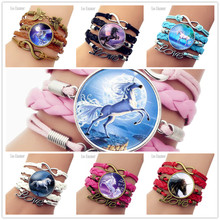 New Arrival Brings you Good Luck Unicorn Bracelet Handmade Time Braided Charm Bracelets For Horse Lovers Best Friend Gift(China)