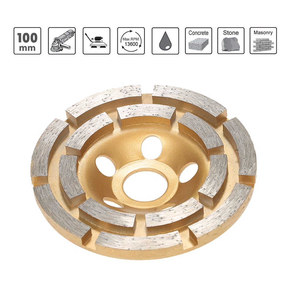 100mm 4 Diamond 2 Row Segment Grinding Wheel sanding disc sander Grinder Cup 20mm Inner Hole for Concrete Granite Masonry Stone z lion 4 diamond cup wheel grit 30 silent core turbo cup grinding aluminum base abrasive tool for concrete granite thread m14