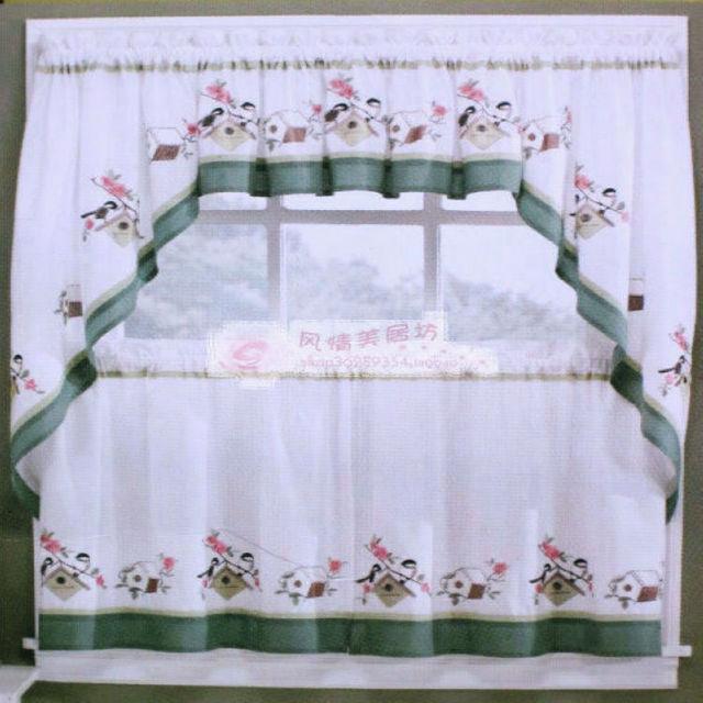 Rústica cocina de algodón bordado cortina de café cortina cenefa ...