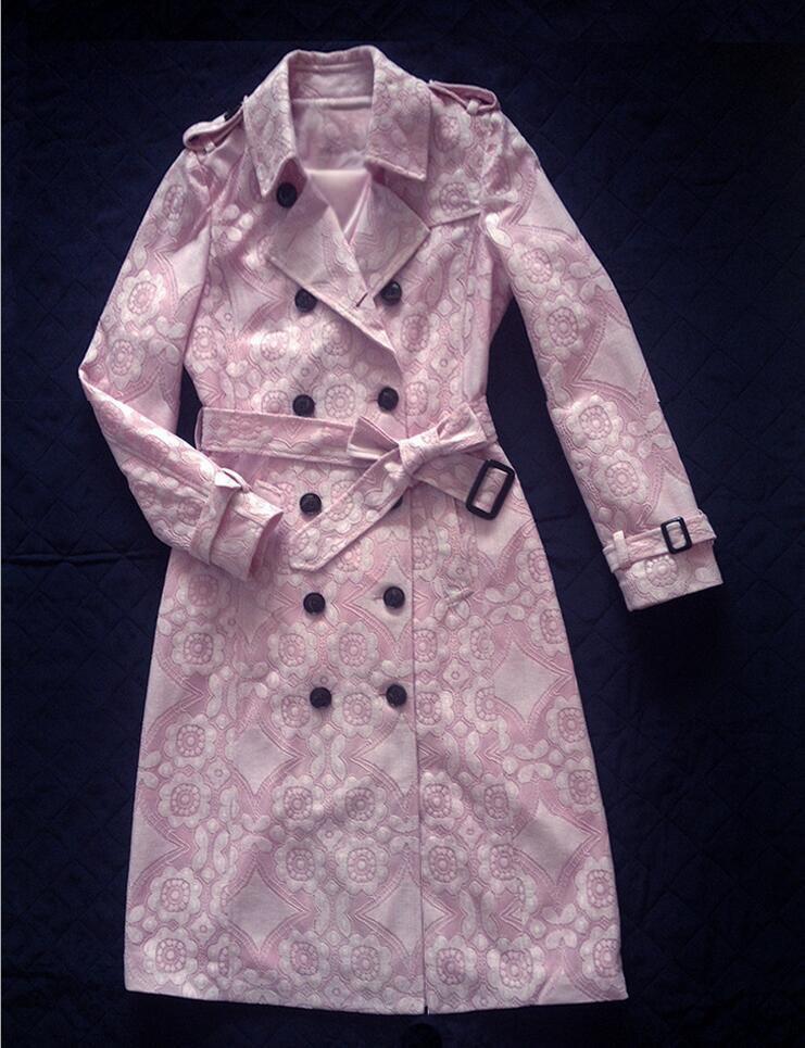 2017 moda estilo coreano invierno mujer Encaje elegante Trencas Rosa Delgado da vuelta abajo cuello Oficina señora Outwear e42 - 3