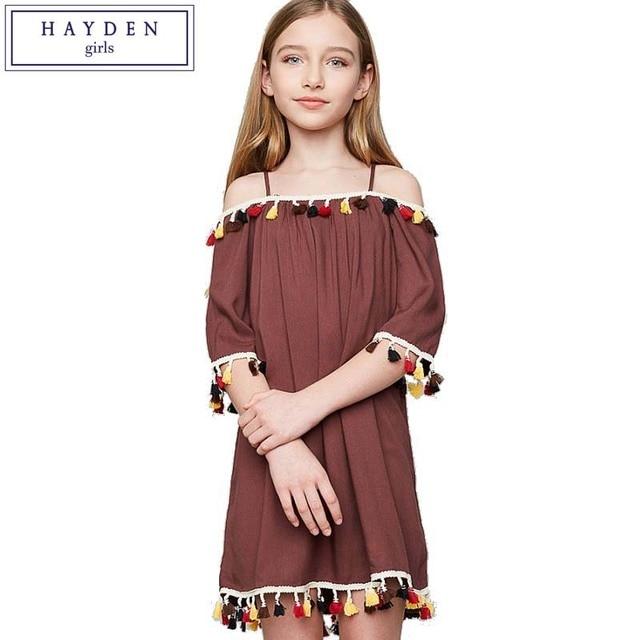 hayden tassel dress kids off shoulder dresses for girls