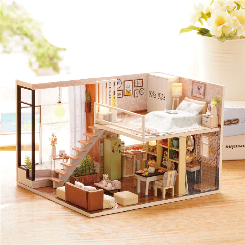 kawaii Furniture Toy Wood DIY Dolls House Pretend Play toys miniature bedroom for girls kids dollhouse creative gifts new style cutebee new house wooden pretend play