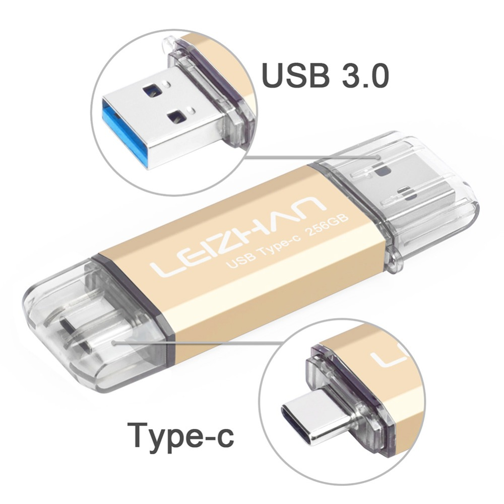 Uflatek Dual Memory Stick 32 GB Rotating USB 3.0 Flash Drive Dual USB Drive Gold Color Pendrive Type C Thumb Drive Waterproof USB Stick External Storage for Mobile Phone Tablets and Computer