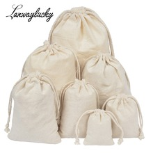 50pcs/lot Handmade Small Muslin Cotton Drawstring Packaging Gift Bags For Coffee Bean Jewelry Wedding Favors Rustic Storage