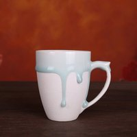Handmade Creative Ceramic Blue Flow Glaze Mug Round Irregular Porcelain Cups White Brown Coffee Milk Mugs