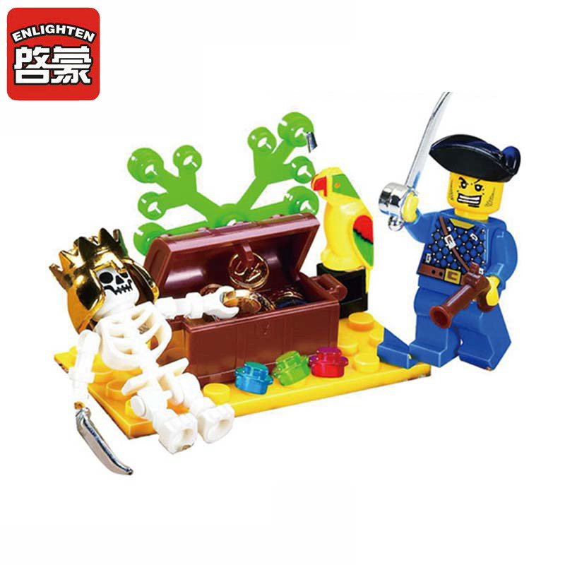ENLIGHTEN 312 Pirate Series Skull Island Adventure Figure Blocks Christmas Gift Construction Building Bricks Toys For Children