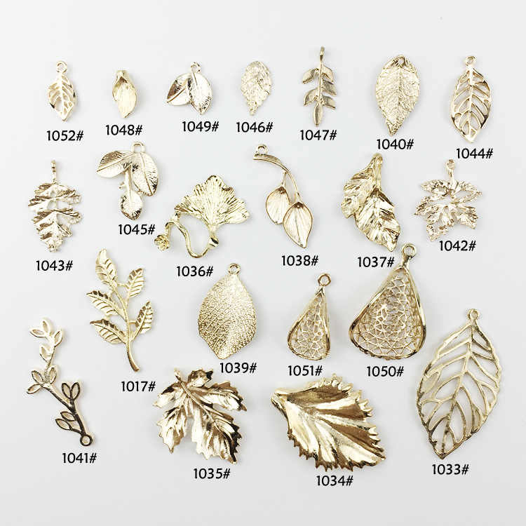 10pcs/lot Wholesale High Quality Fashion Gold Color Charm Leaf Hollow Leaves Charms Pendant For Necklace Jewelry Accessories
