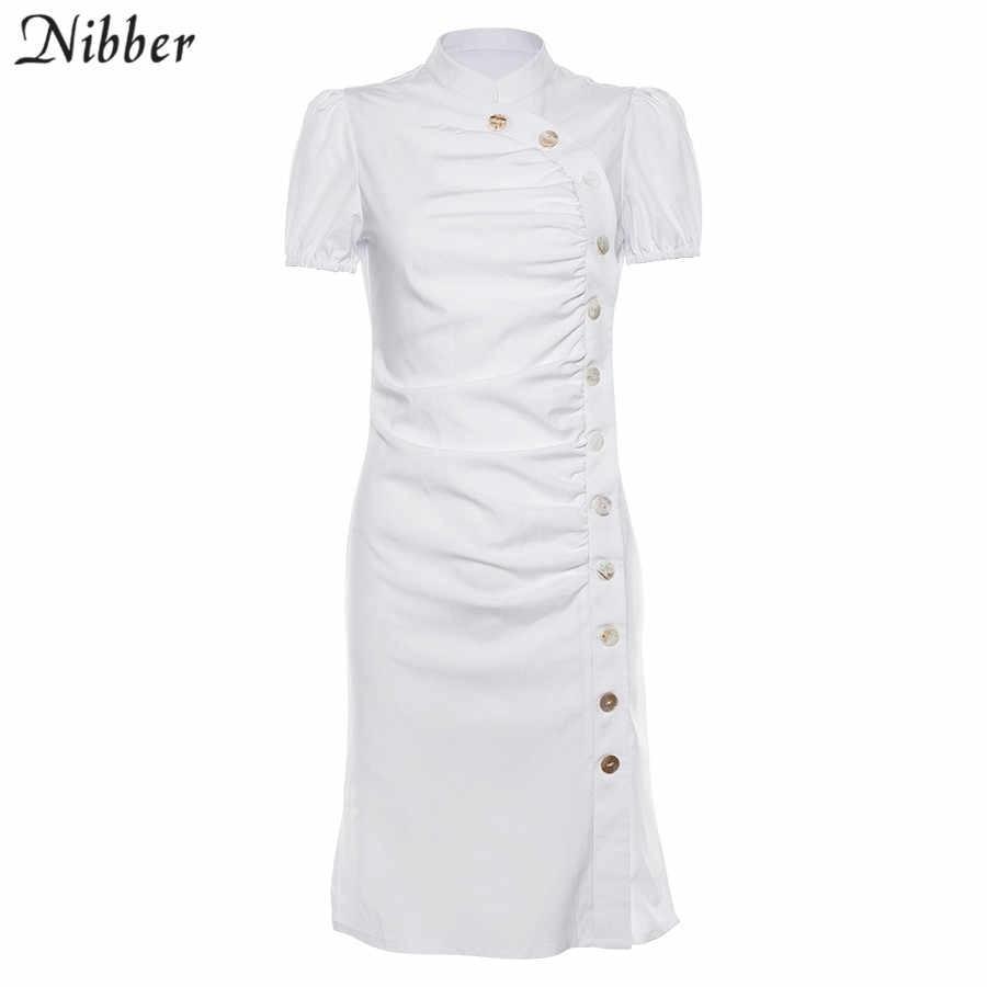 Nibber модные дизайнерские белые миди облегающие платья с пуговицами, женские 2019 летние уличные повседневные тонкие платья с коротким рукавом mujer