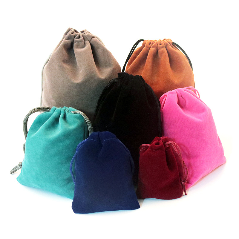 10pcs 2 Sizes Packing Drawstring Velvet Pouch Sachet Gift Bag For Jewelry Wedding Things Party Bead Container Storage Wholesale